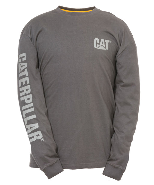 CAT Trademark Banner Long Sleeve T-shirt in Dark Shadow Grey at Dave's New York