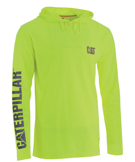 CAT Hi-Vis UPF Hooded Banner LS Tee - Bright Yellow at Dave's New York