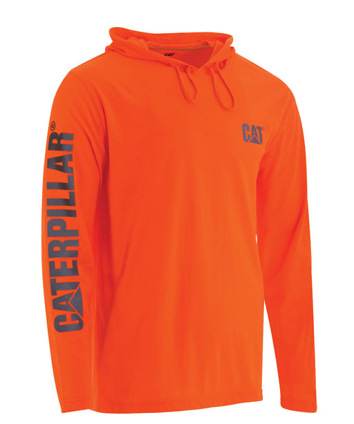 CAT Hi-Vis UPF Hooded Banner LS Tee - Bright Orange at Dave's New York