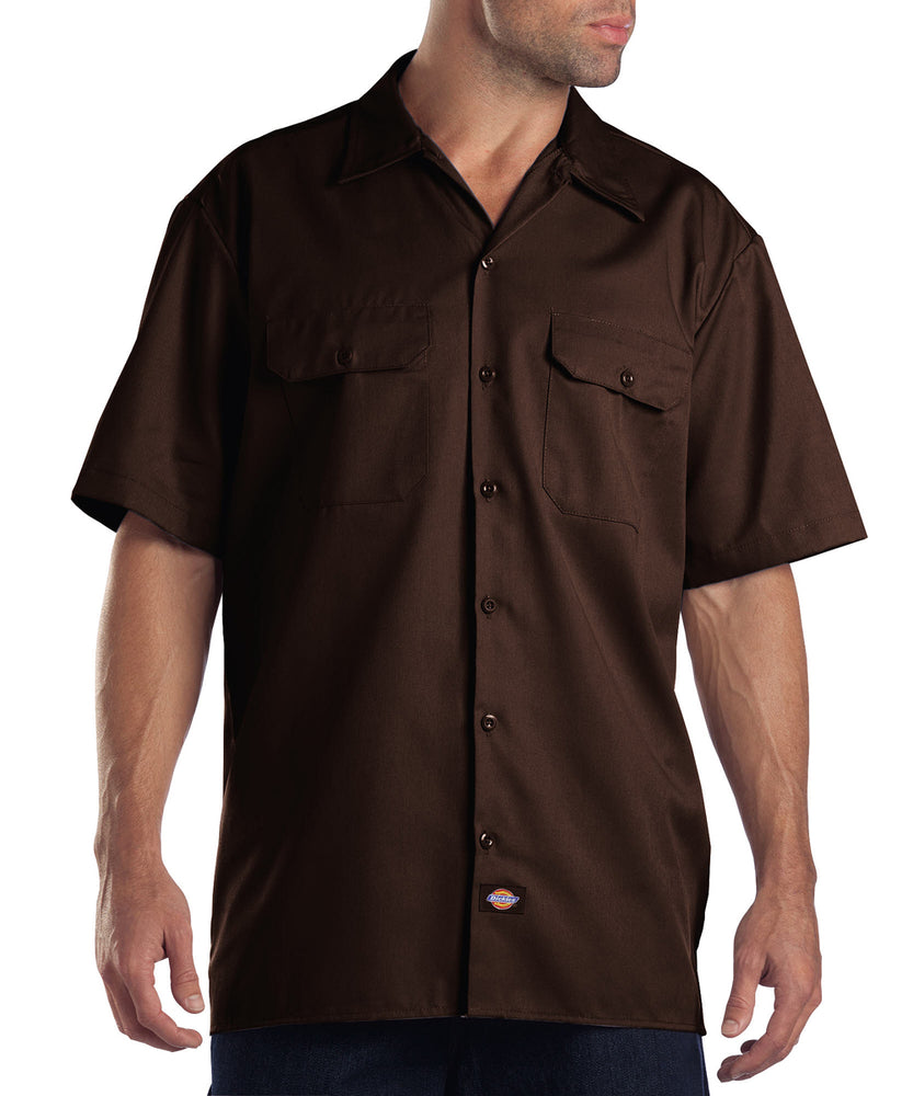 Dickies Short Sleeve Work Shirt in Dark Brown at Dave's New York