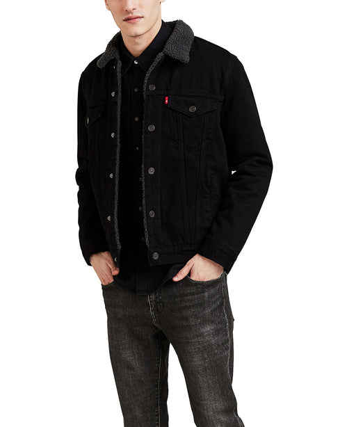 Levi's Men's Sherpa Trucker Jacket in Duval Black at Dave's New York