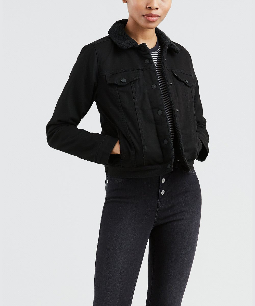 durable in use store new authentic Levi's Women's Original Sherpa Trucker Jacket - Forever Black