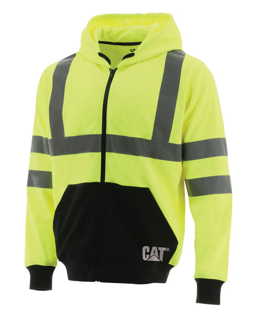CAT Hi-Vis Full Zip Colorblock Sweatshirt - Bright Yellow at Dave's New York