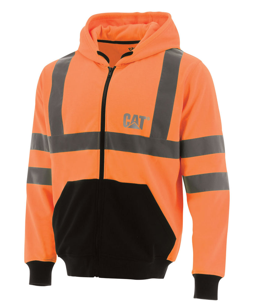CAT Hi-Vis Full Zip Colorblock Sweatshirt - Bright Orange at Dave's New York