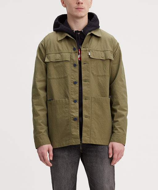 Levi Workwear Utility Trucker Jacket in Grey Olive Rip-Stop at Dave's New York
