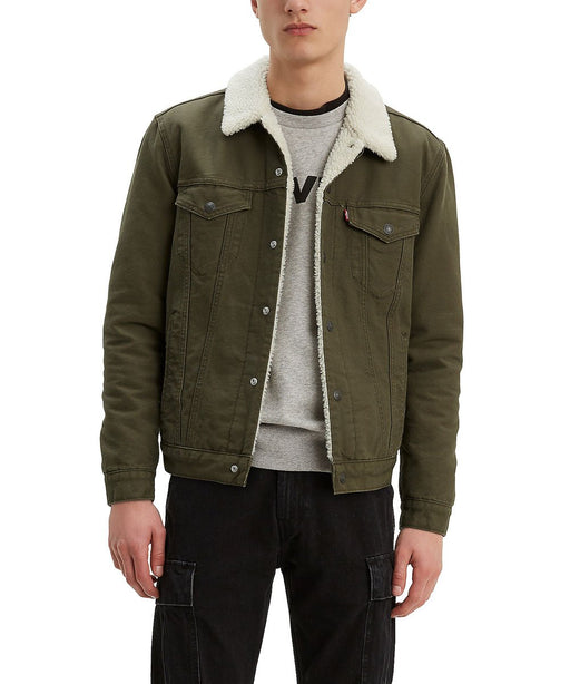 Levi Men's Sherpa Trucker Jacket - Olive Night Canvas