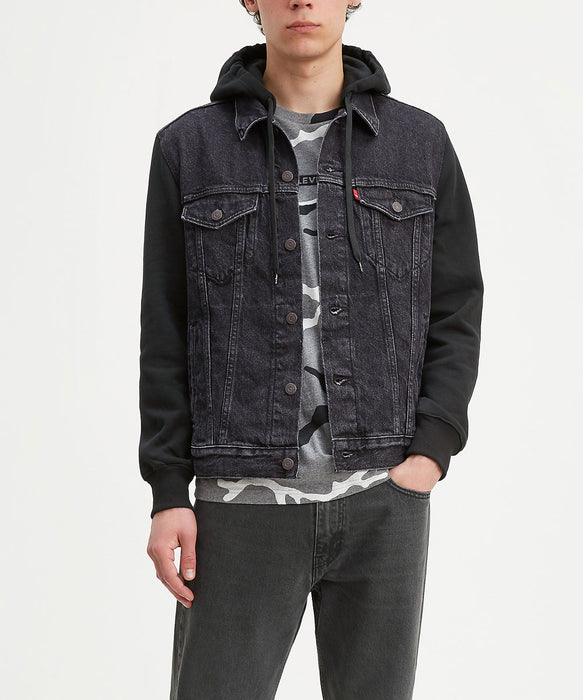 Levi's Men's Hybrid Hoodie Trucker Jacket - Hood Up Black