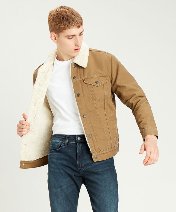 Levi Men's Sherpa Trucker Jacket - Cougar Canvas