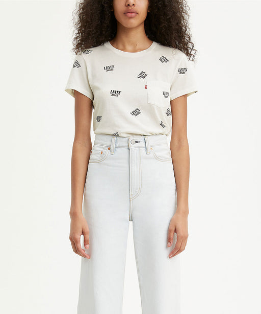 Levi's Women's The Perfect Pocket Tee in 2 Horse Logo - Cloud Dancer at Dave's New York