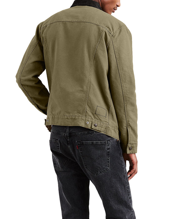 Levi's Men's Lined Trucker Jacket in Olive Night Canvas at Dave's New York