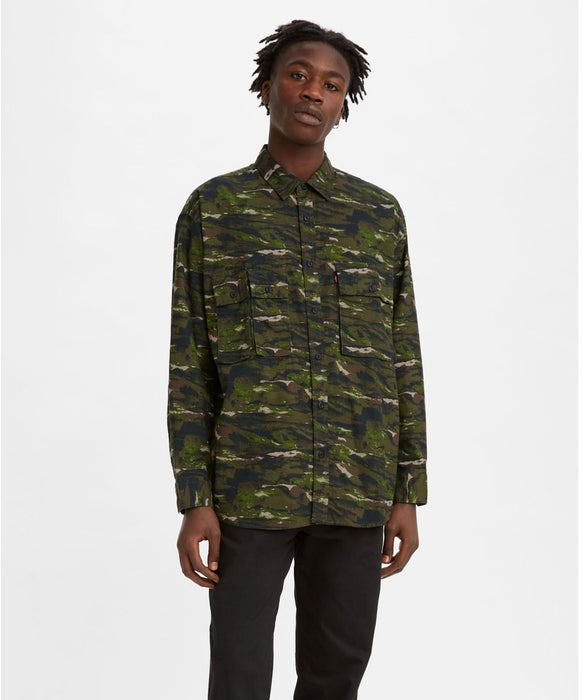 Levi's Men's Long Sleeve Oversized Utility Shirt - Abstract Fish Wave Camo at Dave's New York