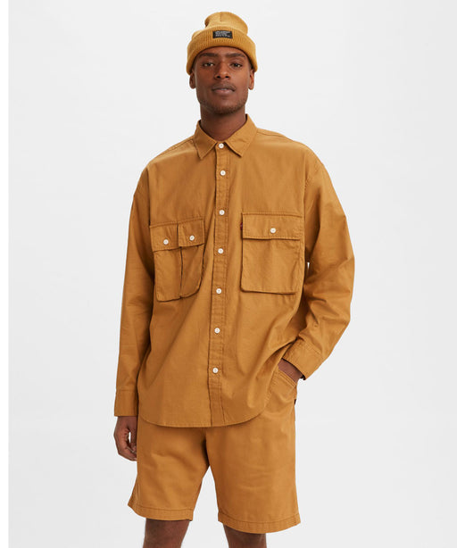 Levi's Men's Long Sleeve Oversized Utility Shirt - Medal Bronze at Dave's New York