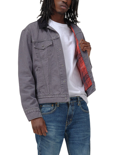 Levi's Men's Lined Trucker Jacket in Magnet Grey Canvas at Dave's New York