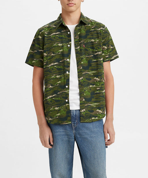 Levi's Men's Classic Short Sleeve Button Down Shirt - Abstract Fish Wave Camo at Dave's New York