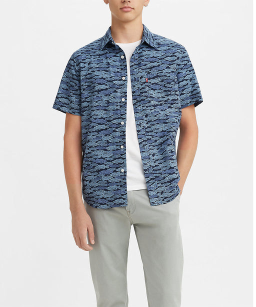 Levi's Men's Classic Short Sleeve Button Down Shirt - Stamp Fish Colony Blue at Dave's New York