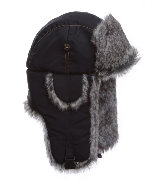 Mad Bomber Black Supplex Bomber with Grey Wabbit Faux Fur