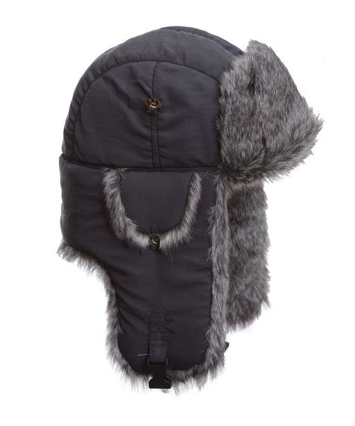 Mad Bomber Grey Supplex Bomber with Grey Wabbit Faux Fur