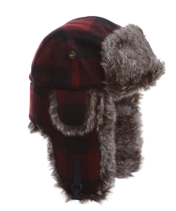 Mad Bomber Maroon Wool plaid with Brown Wabbit Faux Fur