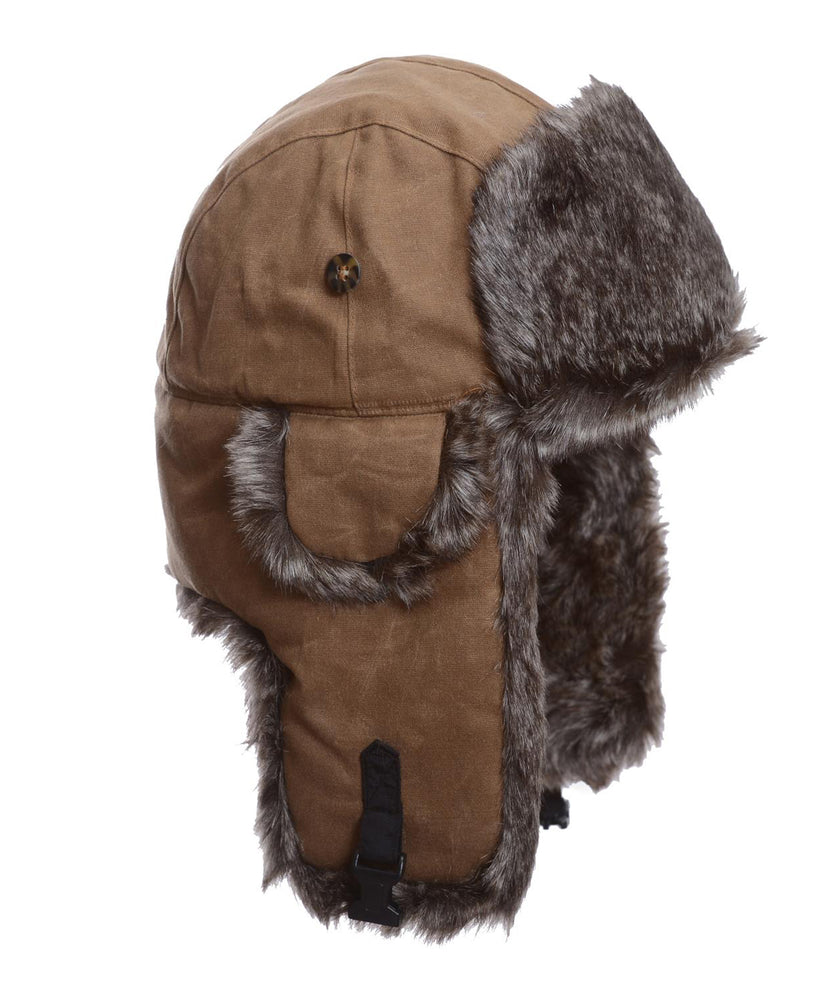 Mad Bomber Khaki Waxed Cotton with Brown Wabbit Faux Fur