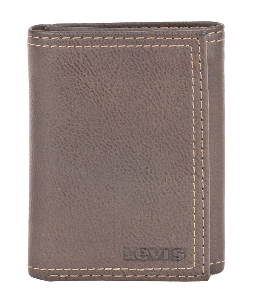 Levi's Leather Trifold Wallet with Zipper - Brown