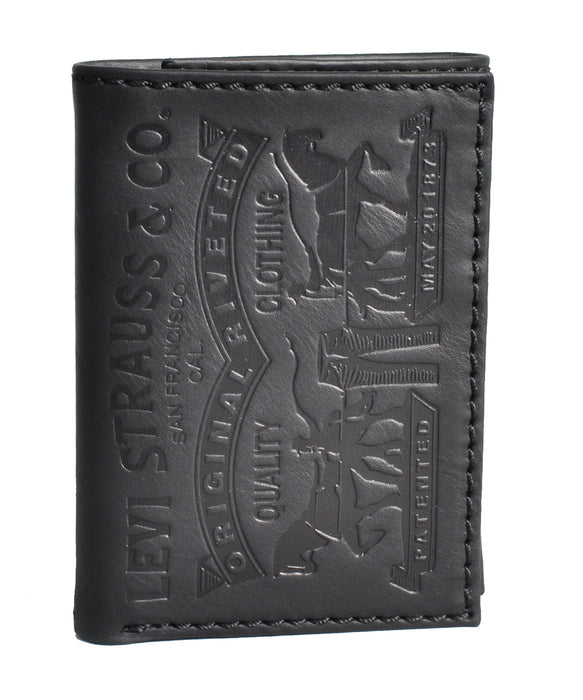 Levi's Leather Trifold Wallet with Embossed Levi's Logo - Black