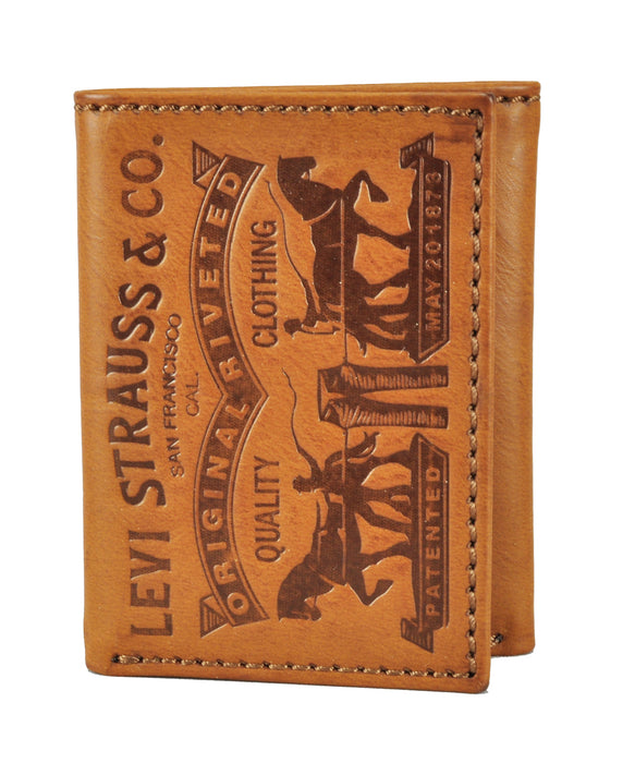 Levi's Leather Trifold Wallet with Embossed Levi's Logo - Cognac