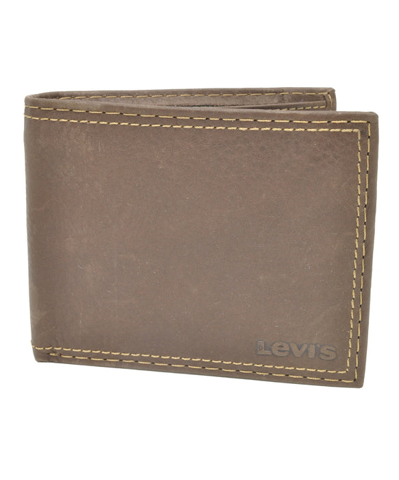 Levi's Leather Slim Fold Wallet - Brown