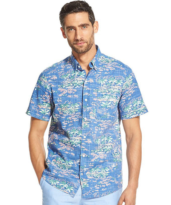 Izod Saltwater Dockside Chambray Tropical Print - Vintage Teal