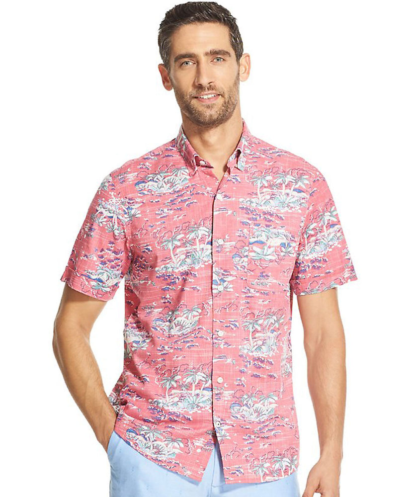 Izod Saltwater Dockside Chambray Tropical Print - Cherry Blossom