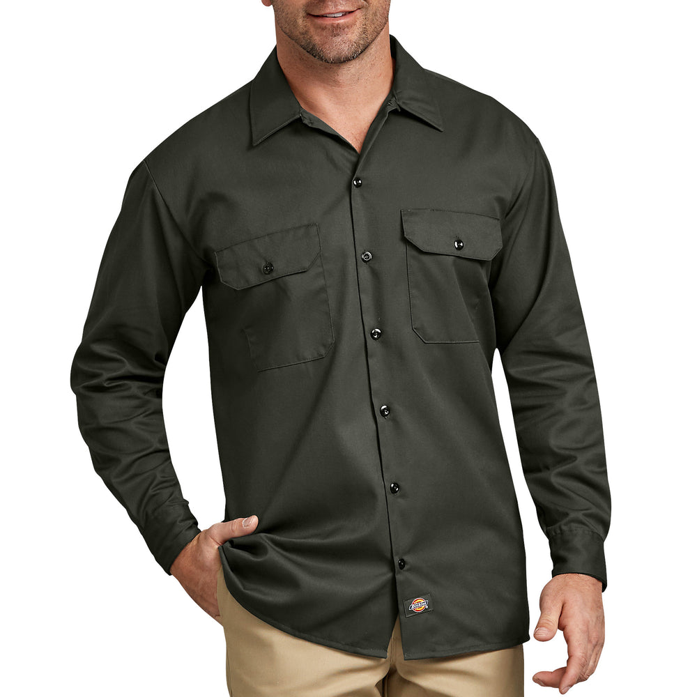 Dickies Long Sleeve Work Shirt in Olive Green at Dave's New York
