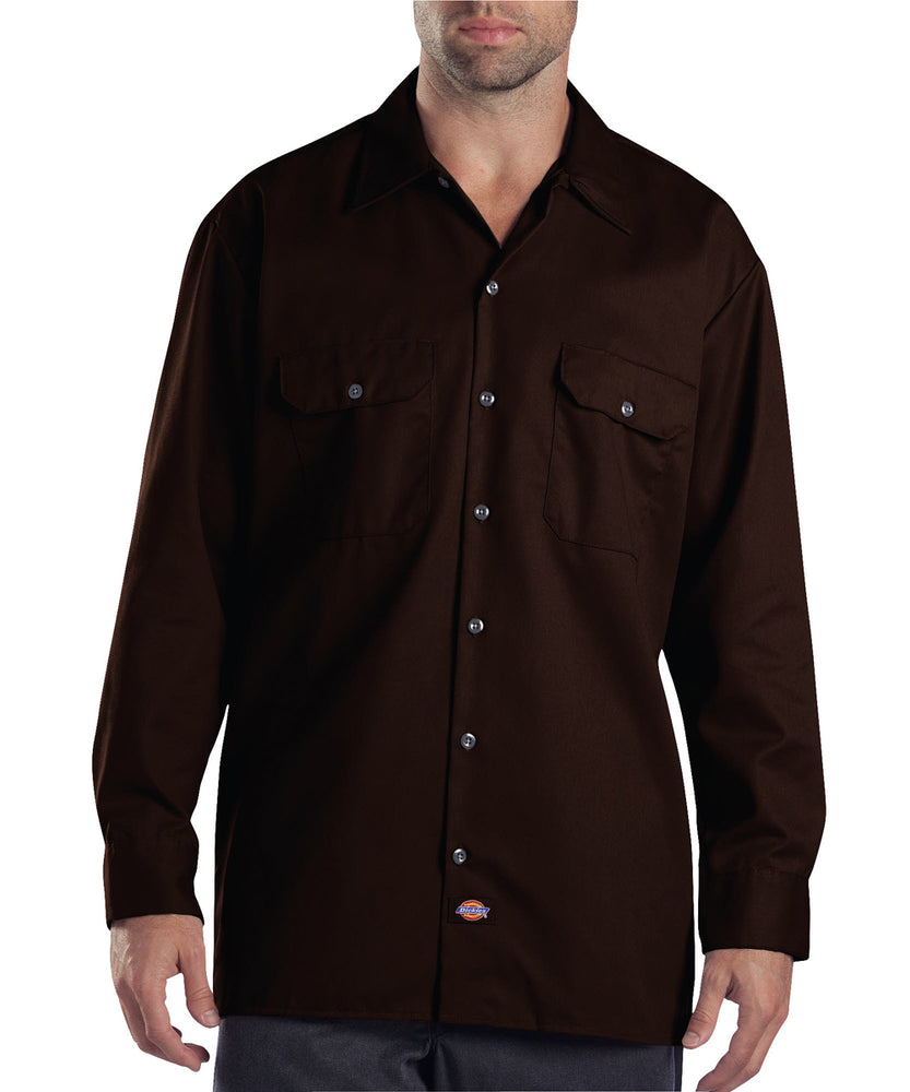 Dickies 574 Long Sleeve Work Shirt - Dark Brown