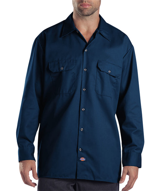 Dickies Long Sleeve Work Shirt in Dark Navy at Dave's New York