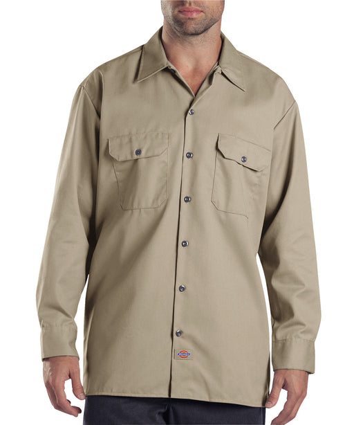 Dickies Long Sleeve Work Shirt in Khaki at Dave's New York