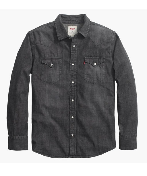 New – Levi Men's Standard Western Denim Shirt – Black Denim Heather