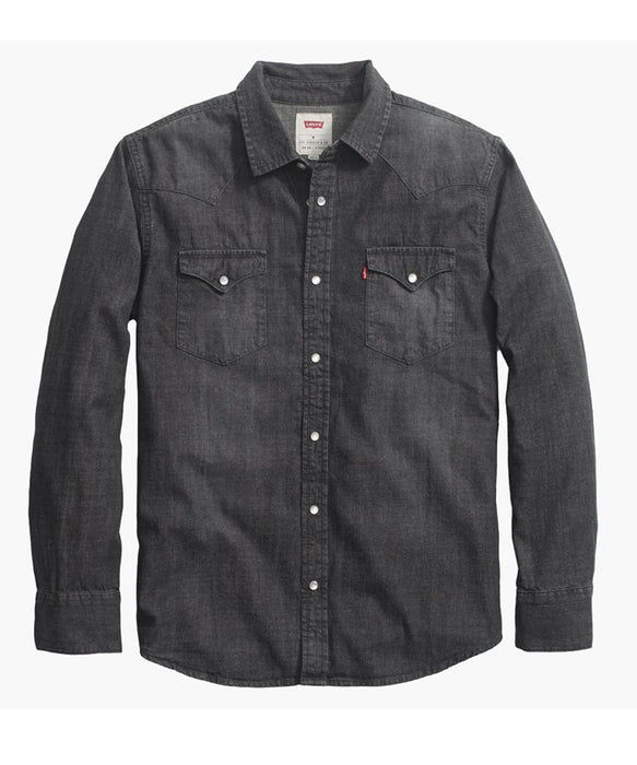 New – Levi Men s Standard Western Denim Shirt – Black Denim Heather —  Dave s New York 906b7090b8f3
