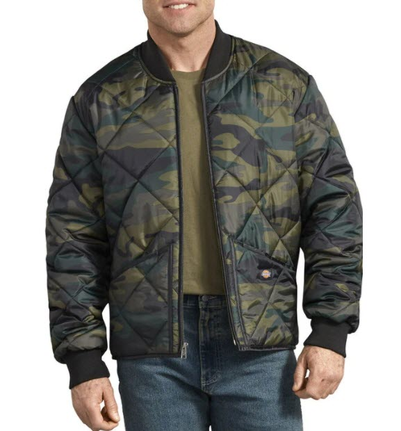 Dickies Diamond Quilt Jacket in Hunter Green Camo at Dave's New York