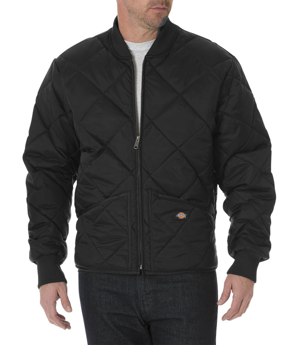 Dickies Diamond Quilted Nylon Jacket in Black at Dave's New York