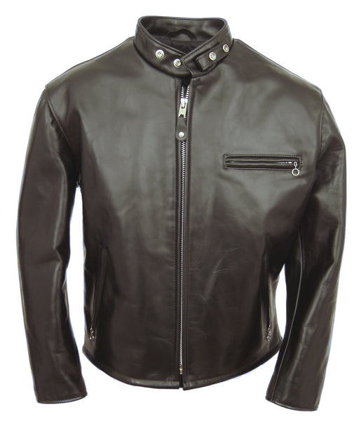 Schott 641HH Classic Racer Motorcycle Jacket in Black at Dave's New York