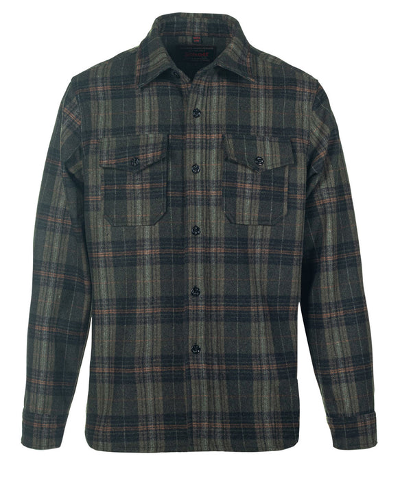 Schott NYC Plaid Wool Blend CPO Shirt Jacket in Olive at Dave's New York