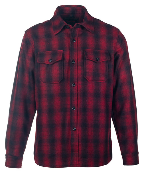 Schott NYC Plaid Wool Blend CPO Shirt Jacket in Red at Dave's New York