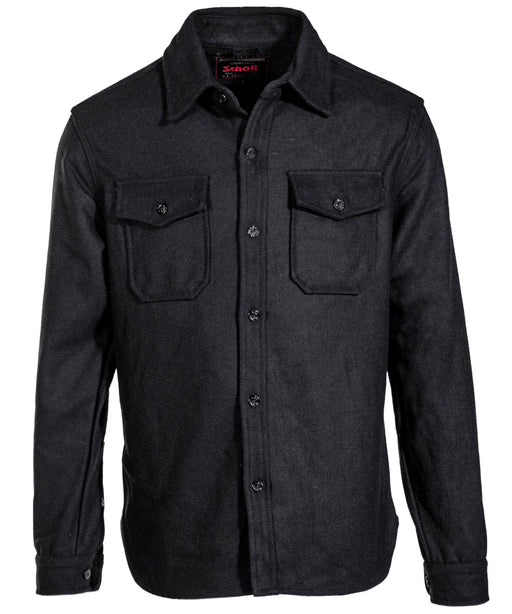 Schott NYC Quilt-Lined CPO Shirt Jacket in Black at Dave's New York