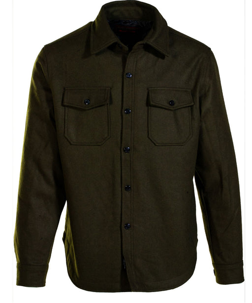 Schott NYC Quilt-Lined CPO Shirt Jacket in Olive at Dave's New York