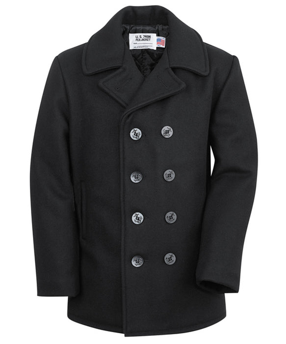 Schott 740 Classic Wool Pea Coat - Navy
