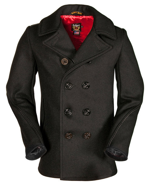 Schott 740C Slim Fit Wool Pea Coat - Navy
