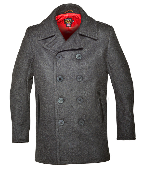 Schott 740C Slim Fit Wool Pea Coat - Dark Oxford