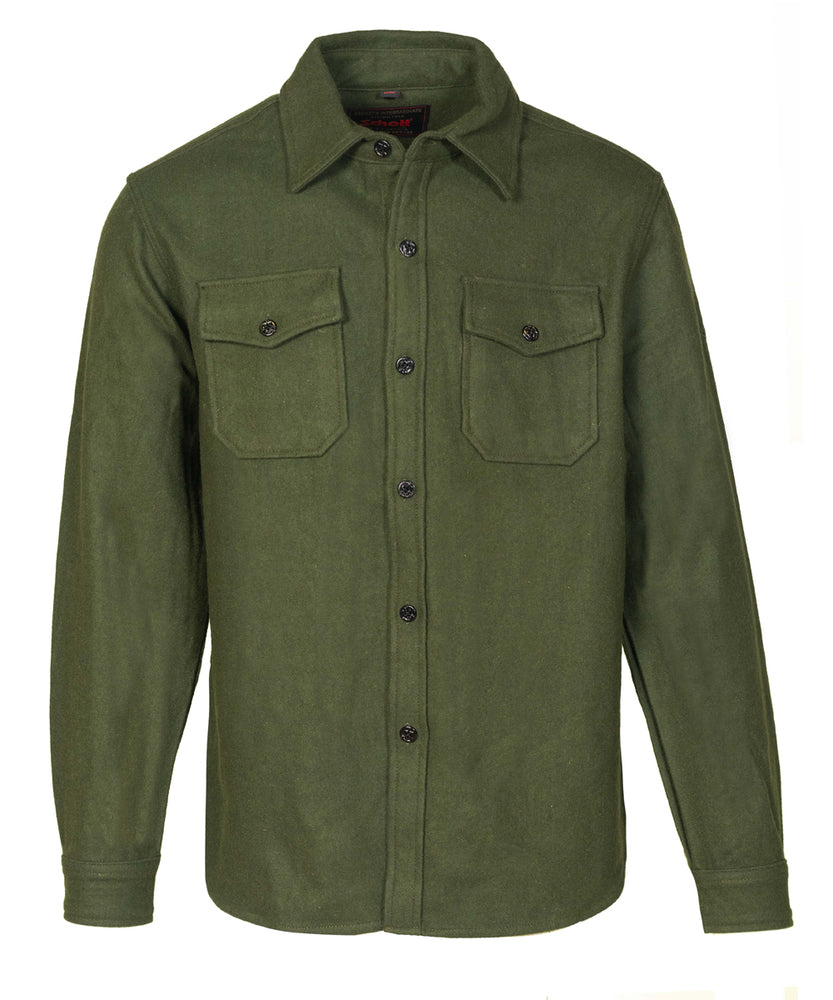 Schott NYC Men's CPO Wool Shirt in 7810 in Olive at Dave's New York