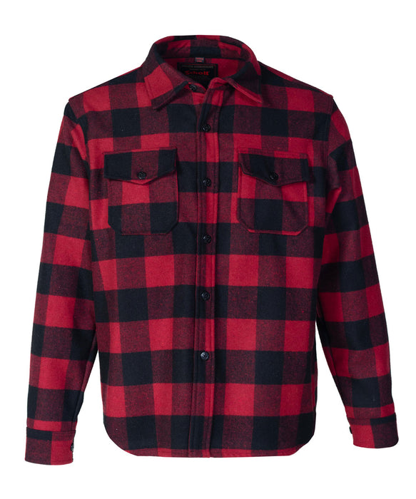 Schott NYC Men's CPO Wool Shirt in Red/Black Plaid at Dave's New York