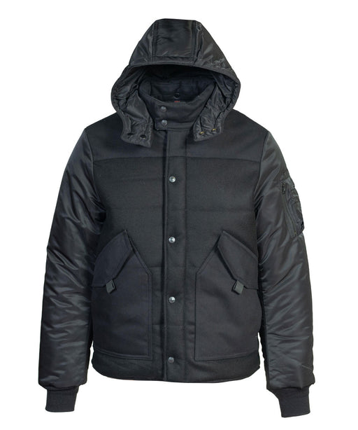 Schott NYC Men's Wool Blend CWU Puffer Jacket in Black at Dave's New York