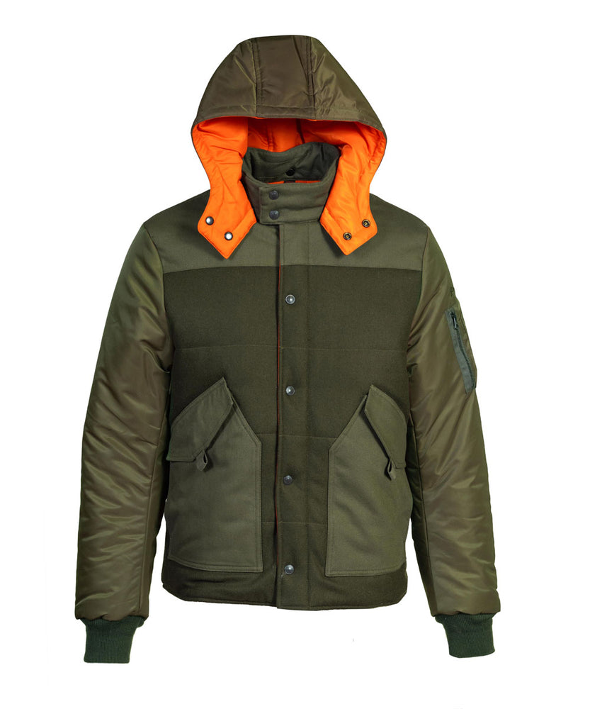 Schott NYC Men's Wool Blend CWU Puffer Jacket in Olive at Dave's New York