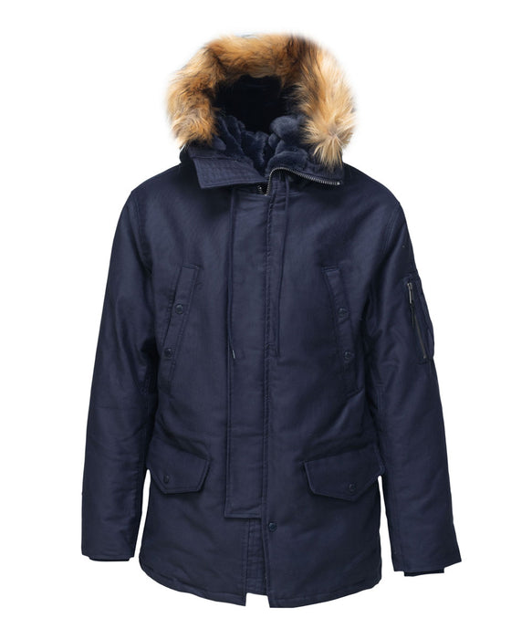 Schott NYC Men's Bedford Cord Down Parka in Navy at Dave's New York